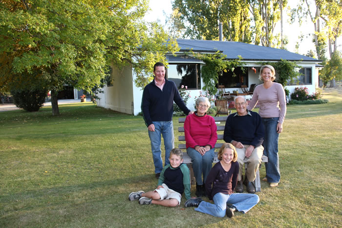 The Subtil family on the Omarama Farmstay property