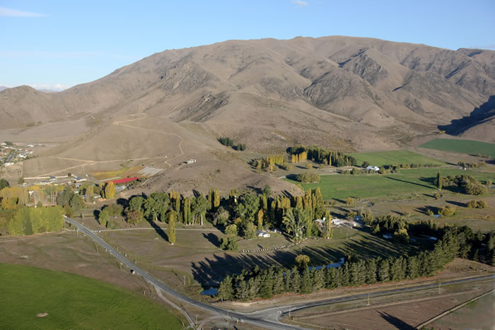 Aerial view over the Station property, Omarama, NZ